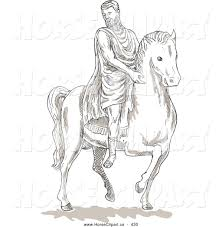 clip art of a coloring page of a historical roman man on a horse
