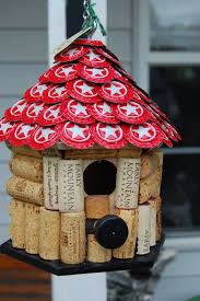 wine cork and beer bottle cap house for the birds birdhouses
