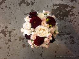 wedding flowers queanbeyan bridal bouquet of merlot dahlias roses and blush spray