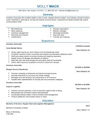 Logistics Resume Objective Inventory Experience Resume Resume For Your Job Application