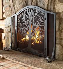 elegant design black small tree fireplace screen with metal fire