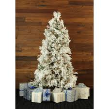 fraser hill farm 12 ft flocked snowy pine tree with smart