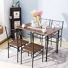 kitchen and dining furniture amazon com ikayaa modern 5pcs dining table set pine wood kitchen