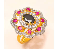 color stone rings images Ad rings with red color stone gold polished jewellery jpg