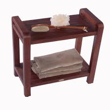 Wooden Shower Stool Sustainable Asia 35 In Teak Serenity Shower Bench W Shelf Eco