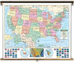 United States Maps by Primary United States Political Classroom Map On Spring Roller
