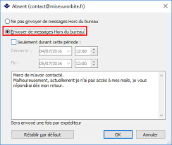 outlook message absence bureau activer le répondeur dans kerio connect mise sur orbite