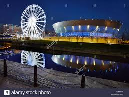echo arena and ferris wheel liverpool merseyside england uk