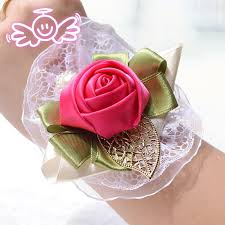 Red Rose Wrist Corsage 2015 Wedding Corsage Hand Flower Red Silk Roze Pols Corsages In