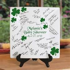 bridal shower autograph plate inch square signature plate decorated with shamrocks for an