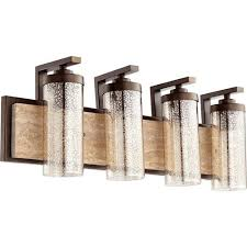 Affordable Vanity Lighting Quorum International Julian Oiled Bronze 29 Inch Four Light Vanity
