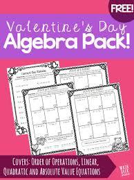 valentine u0027s day algebra practice pack free