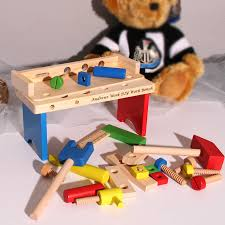 Toy Wooden Tool Bench Small Personalised Wooden Tool Bench For Kids By Giftsonline4u