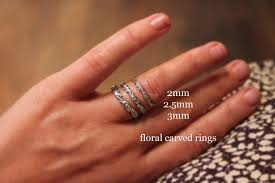 2mm ring ar nu palladium 2mm floral carved