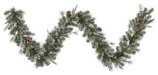 frosted pine cone and berry artificial garland unlit 9