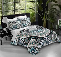 geometric pattern bedding chic home lacey 4 piece duvet cover set reversible print bedding