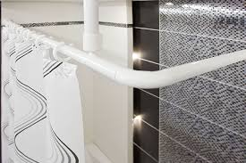 shower curtain rail rod 4 way use l or u shape with ceiling mount and semi open ring white co uk kitchen home