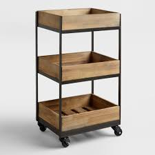 Laundry Room Storage Cart by Rolling Carts Wood Metal U0026 Rustic Styles World Market