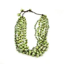 coloured pearl necklace images Green freshwater pearl and crystal multi strand necklace fatlip jpg