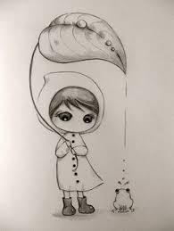 chica con paraguas 4 x 6 estudio a lápiz mis dibujos
