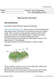 primaryleap co uk hills and mountains worksheet