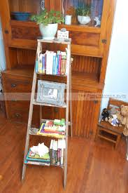 decorating charming ladder bookshelf on wooden floor matched with