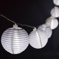 Solar Lantern String Lights by White Nylon Solar Lantern String Yard Envy