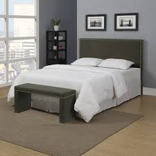 Overstock Bedroom Benches Handy Living Upton Basil Green Linen Full Queen Headboard And