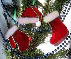 decorations stained glass socks glove and hat of santa
