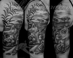 lion with cubs sleeve tattoo google search lioness and cub