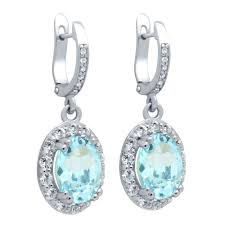 blue topaz earrings cut genuine sky blue topaz earrings with large white topaz halo