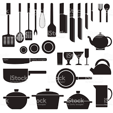 Inhouse Flat Kitchen Table For Cooking In House Design Stock Vector Art