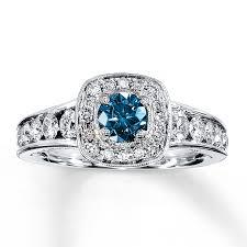 blue rings white images Jared blue white diamond ring 1 1 8 carats tw 14k white gold jpg