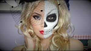 half skull mask halloween half glam half skull makeup tutorial youtube