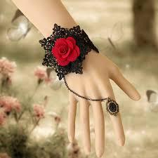 women hand bracelet images Mylove black gothic bracelet lolita slave bracelet with ring for jpg