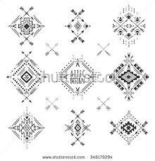 aztec elements tribal geometric symbols tattoos stock vector