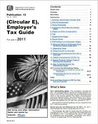 2015 Federal Tax Tables Irs Payroll Tax Tables U2013 Publication 15 Circular E For 2011
