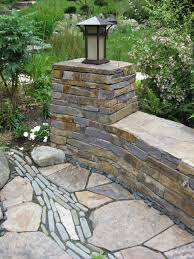 Patio Stone Pictures by Before And After U2013 Patio With Stone River And Curved Stone Wall
