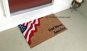 Welcome Doormats God Bless America Patriotic Flag Custom Handpainted Welcome