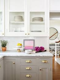 white and taupe lower kitchen cabinets get the look for less modern greige simple kitchen
