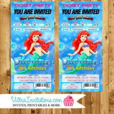 princess mermaid ticket invitations etsy invites prints