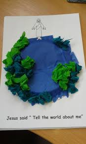 a simple craft for ascension day and or the great commission just just a small paper plate glued upside down on a piece of card and tissue and or crepe paper stuck