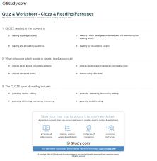 Comprehension Worksheets For Grade 8 Quiz U0026 Worksheet Cloze U0026 Reading Passages Study Com