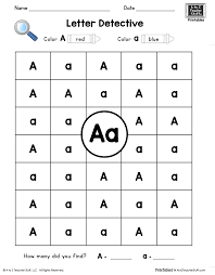Free Printable Worksheets For Preschool Teachers Letter A Letter Detective Uppercase U0026 Lowercase Visual