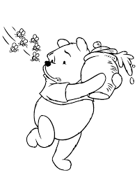 pooh the honey bear running away from bees coloring pages