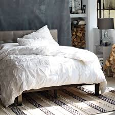 Tufted Headboard Bed Low Grid Tufted Leather Bed Elephant Gray West Elm