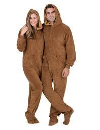 teddy hoodie one hooded footed pajamas one