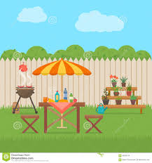 house backyard with grill stock vector image 66950194