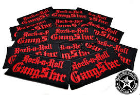 rock n roll gangstar embroidered iron on patches red letters rock