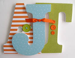 Letter Decorations For Nursery Custom Decorated Wooden Letters Orange Avocado Blue Theme